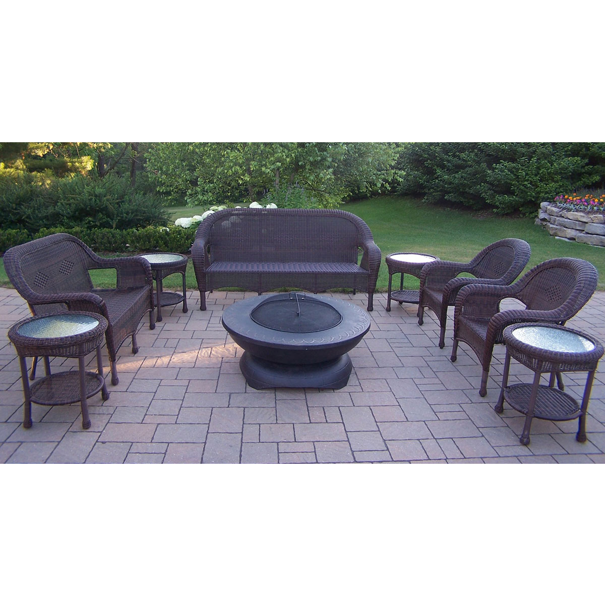 Oakland Living Resin Wicker 9 Piece Patio Seating Set with