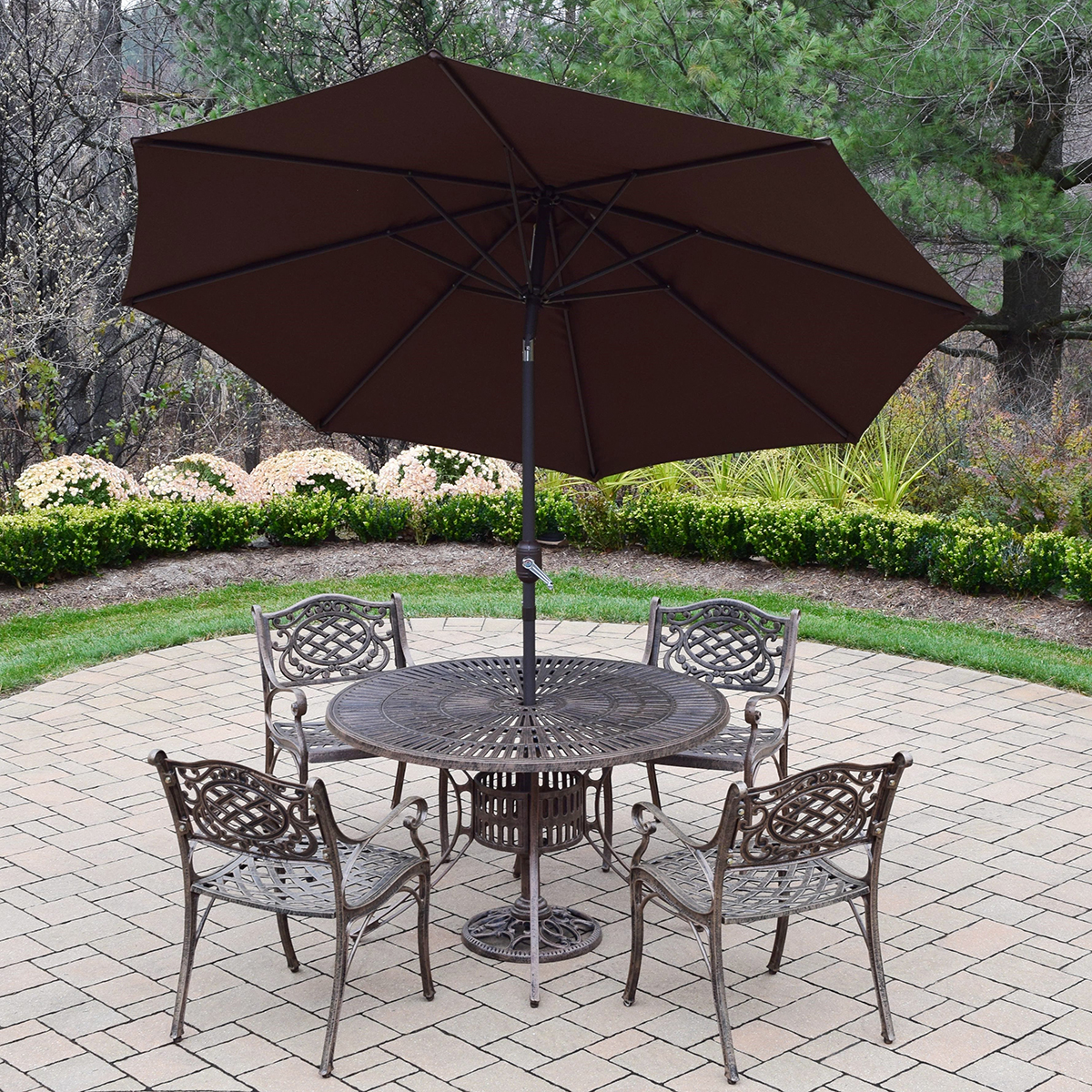 Oakland living sun ray mississippi cast aluminum 7 piece for Metal patio table and 4 chairs