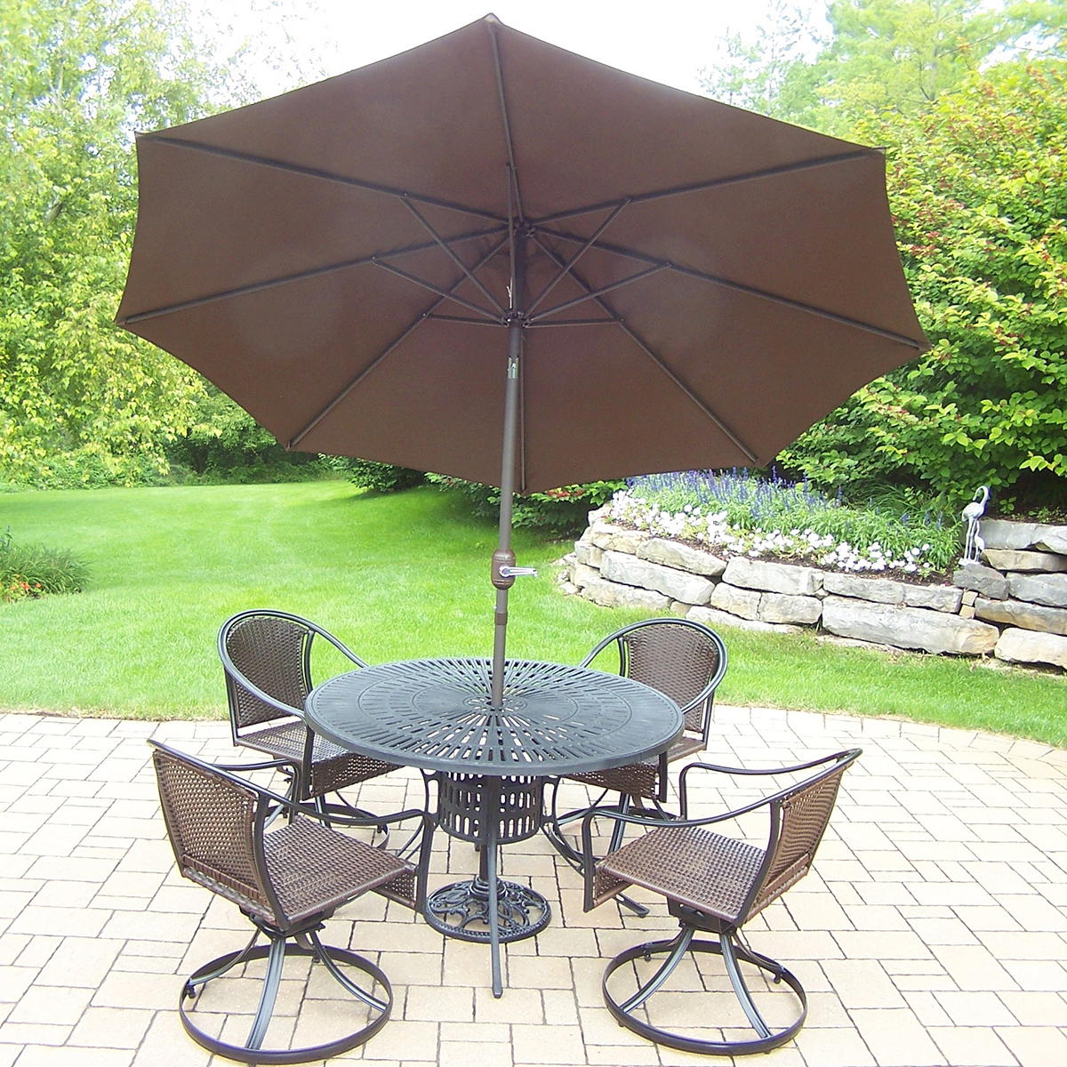 Oakland living sun ray tuscany 7 pc dining set with 48 for Metal patio table and 4 chairs