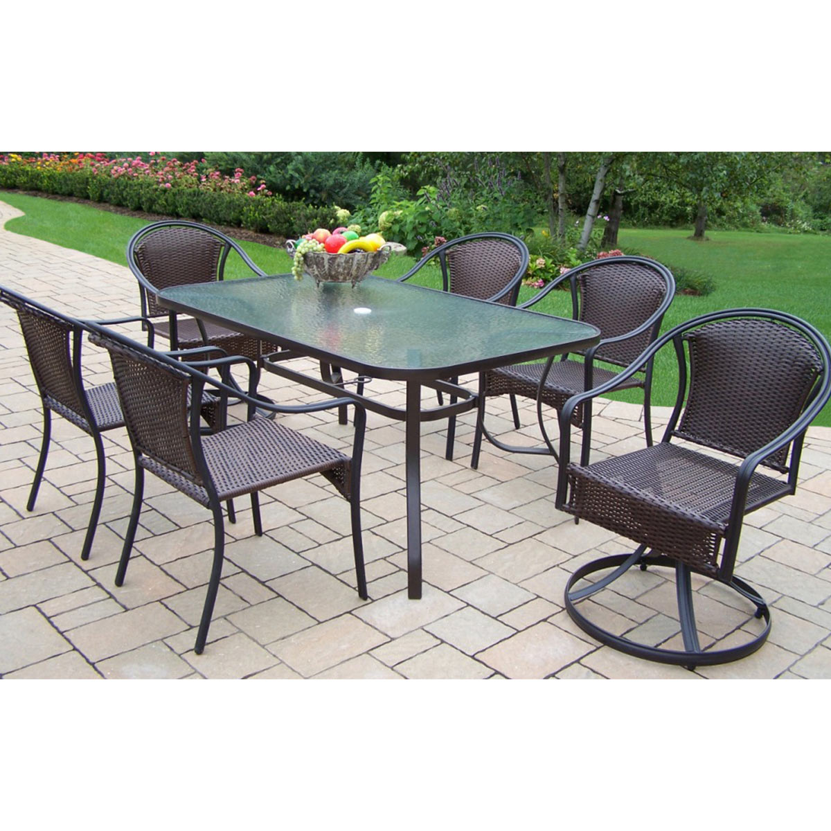 Oakland Living Tuscany 7 Piece Dining Set With 60 X 36 Tempered Glass Top Table 2 Swivel Chairs