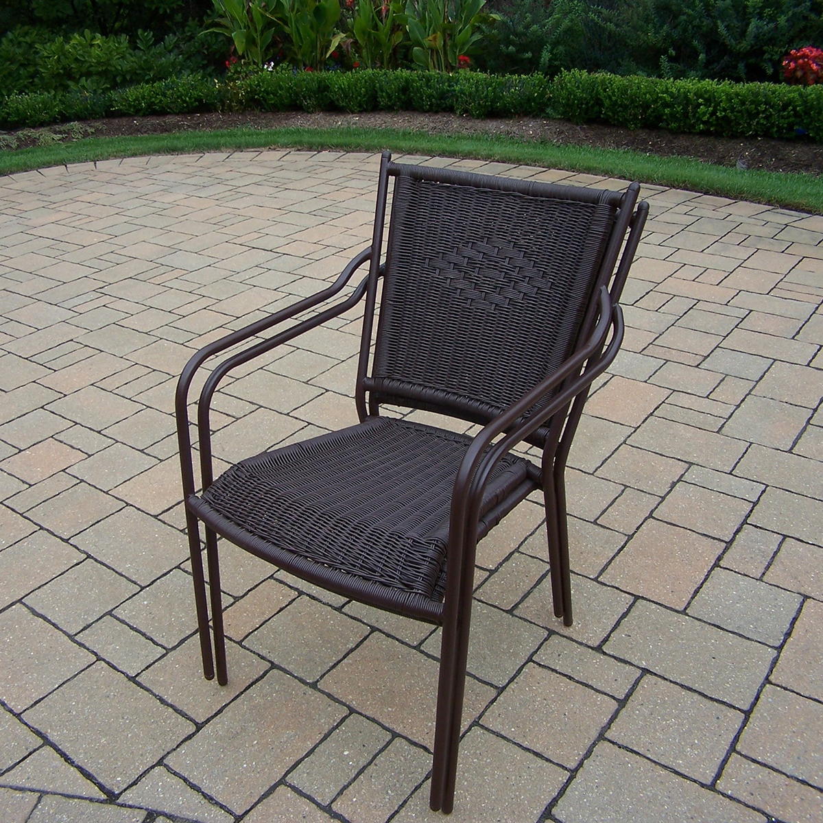 Oakland Living Tuscany Stackable Wicker Chairs With Straight Backs Set Of 2 In Coffee Free