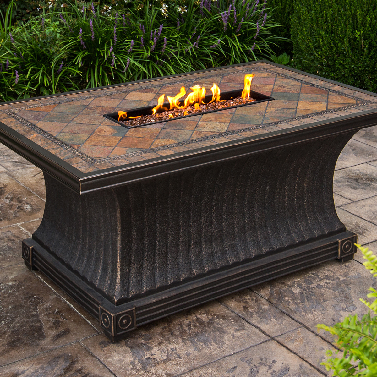 Oakland Living Vienna Gas Firepit Table Deep Seating 7 Pc