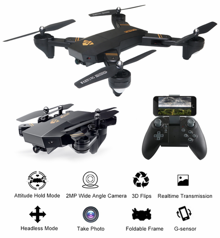 ARRIS Foldable RC Drone Wifi FPV 2.4G 4CH 6 Axis Altitude Hold Function Headless Quadcopter with 720P 2MP Wide Angle Camera