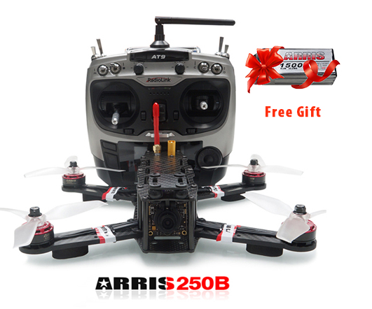 Free Shipping!ARRIS X-Speed 250B  FPV Quadcopter RC Racing Drone With F3 Flight Controller + HD Camera + Radiolink AT9 Transmitter (US Warehouse)