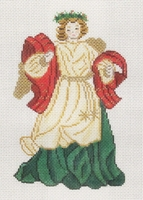 Angel In White, Gold, Red & Green