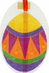 Egg Ornament - Orange and Fuchsia