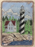 Lighthouse With Cottage