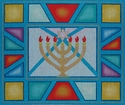 Menorah on Stained Glass