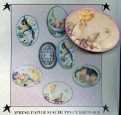 Spring Papier Mache Pin Cushion Box