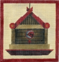 Wood Birdhouse w/ Red Trim