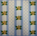 Yellow Roses On Blue Stripes