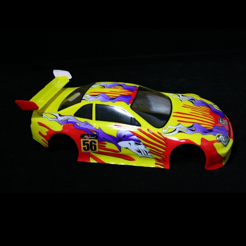 1/10 200mm Onroad Body, Yellow Flame