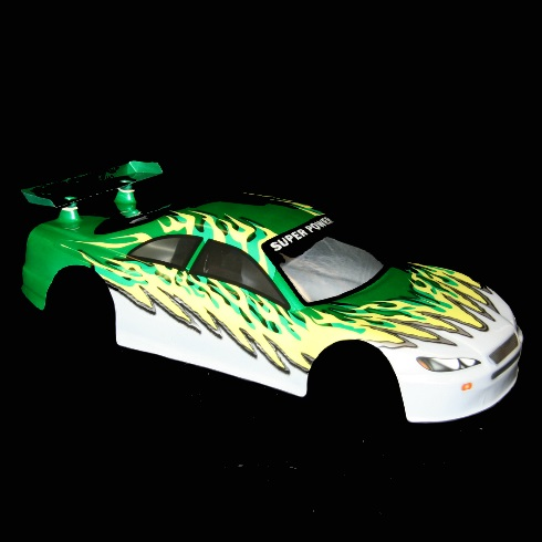 1/10 Road Car Body, Green and White