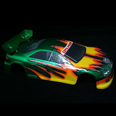 1/10 Road Car Body, Green and Yellow