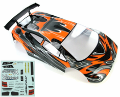 1/10 Road Car Body, Orange and Black