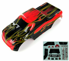 1/10 Truck Body, Red Flame