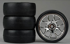10-Spoke Chrome Wheel, Slick Soft Rubber Tires 1/10th Scale 26mm (4pc) For RC Racing (Touring Cars)