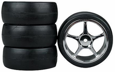 5-Spoke Chrome Wheel, Slick Soft Rubber Tires 1/10th Scale 26mm (4pc) For RC Racing (Touring Cars)