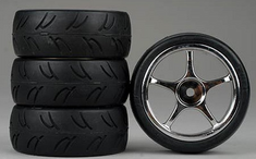 5-Spoke Chrome Wheel, U-Groove Soft Rubber Tires 1/10th Scale 26mm (4pc) For RC Racing (Touring Cars)