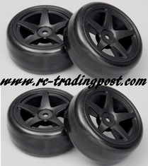 5 Star Black Wheels With Hard Drifting Tires 1/10th Scale 26mm (4pc) For RC Drifting