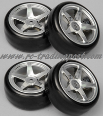 5 Star Chrome Wheels With Hard Drifting Tires 1/10th Scale 26mm (4pc) For RC Drifting