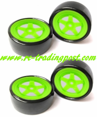 5 Star Green Wheels With Hard Drifting Tires 1/10th Scale 26mm (4pc) For RC Drifting