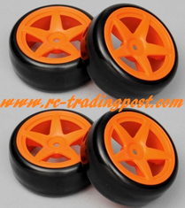 5 Star Orange Wheels With Hard Drifting Tires 1/10th Scale 26mm (4pc) For RC Drifting