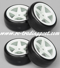 5 Star White Wheels With Hard Drifting Tires 1/10th Scale 26mm (4pc) For RC Drifting