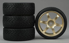6-Spoke Gold Wheel, Radial Soft Rubber Tires 1/10th Scale 26mm (4pc) For RC Racing (Touring Cars)