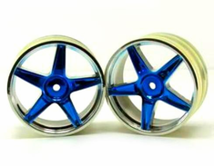 Chrome front 5 spoke blue anodized wheels 2 pcs