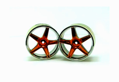 Chrome front 5 spoke orange anodized wheels 2 pcs