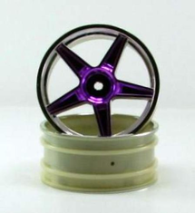Chrome front 5 spoke purple anodized wheels 2 pcs
