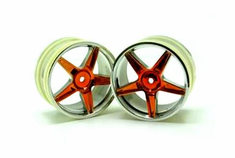 Chrome Rear 5 Spoke Yellow Anodized Wheels, 2 pcs