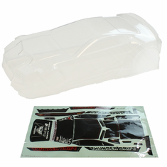 Clear Body w/sticker  (All  plastic parts(Wing (w/wing mount), Mirrors w/chrome stickers (2), wipers (2), mounting hardware) are sold separately as part number BS205-049)