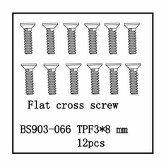 Countersunk Cross Screw (3*8mm)   12pcs ~