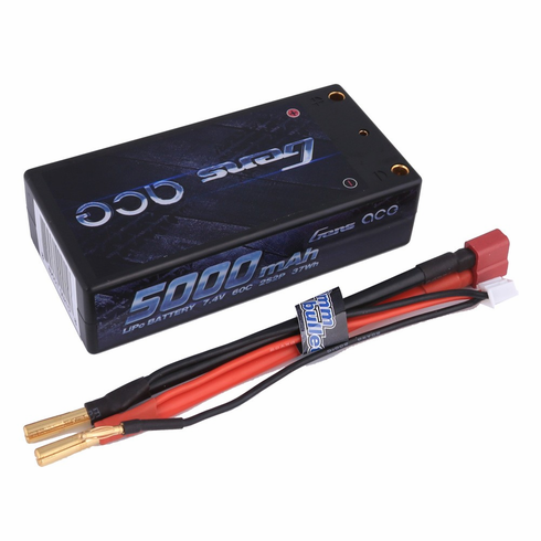 Gens ace 5000mAh 7.4V 60C 2S2P HardCase Lipo Battery Pack 10# with 4.0mm banana to Deans plug