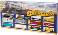 "HO Overland Limited Model Train Set, UP Union Pacific 72"" x 45"" oval"