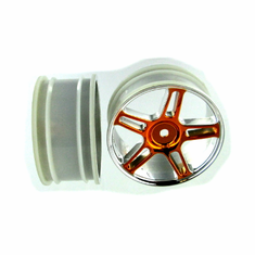 Orange Chrome 5 Spoke Split spoke wheels 2pcs
