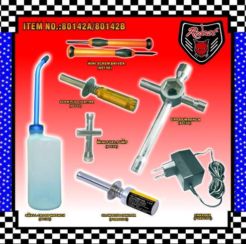 Starter Kit Includes: Tools, Fuel Bottle, Rechargeable Glow Plug Ignitor, and a Glow Plug Ignitor Charger.  Recommended For All Nitro Vehicles.