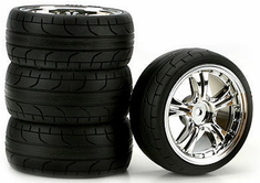 Stinger Chrome 2mm Offset, ST Radial Soft Rubber Tires 1/10th Scale 26mm (4pc) For RC Racing (Touring Cars)