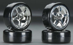 Type1 Chrome Wheels With Hard Drifting Tires 1/10th Scale 26mm (4pc) For RC Drifting