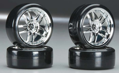 Type3 Chrome Wheels With Hard Drifting Tires 1/10th Scale 26mm (4pc) For RC Drifting