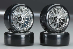 Type4 Chrome Wheels With Hard Drifting Tires 1/10th Scale 26mm (4pc) For RC Drifting
