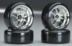 Type5 Chrome Wheels With Hard Drifting Tires 1/10th Scale 26mm (4pc) For RC Drifting