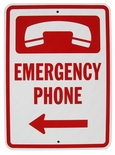 7032 Heavy Duty Aluminum Emergency Phone Sign