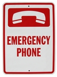 7033 Heavy Duty Aluminum Emergency Phone Sign
