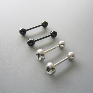 14G SS 316L Steel Black Straight Barbell Body Piercing Jewelry 4 Pack