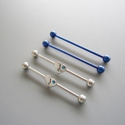 14G SS 316L Steel Cobalt Blue Straight Barbell Gem Heart Body Piercing Jewelry 4 Pack