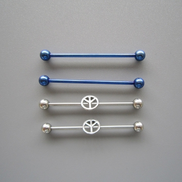 14G SS 316L Steel Cobalt Blue Straight Barbell Peace Sign Body Piercing Jewelry 4 Pack