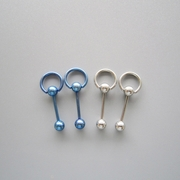14G SS 316L Steel Pacific Blue Straight Barbell Captive Ring Body Piercing Jewelry 4 Pack